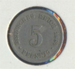 German-Empire-Jagerno-3-1889-J-very-fine-Copper-Nickel-1889-5-Pfennig-7849331