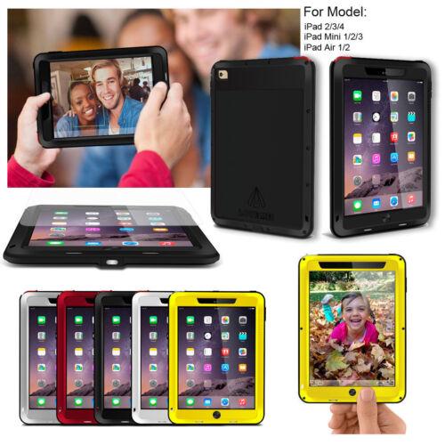 LOVE MEI Waterproof Metal Gorilla Glass Case Cover For iPad 2 3 4/Air 2/iPad Pro