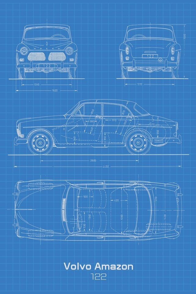 Skilte, Volvo Amazon 122 Blueprint