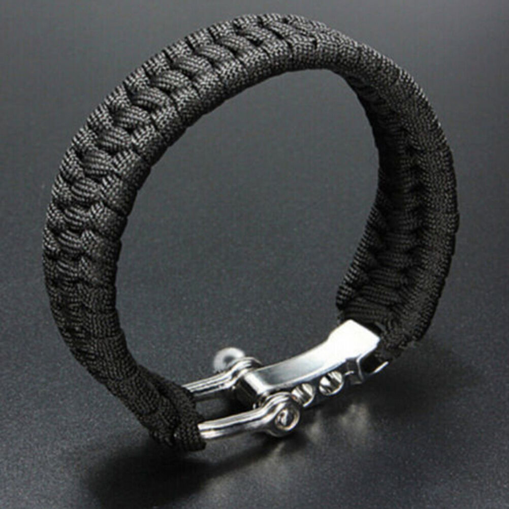 Survie Survie Survie Bracelet Para Corde Extérieure Noir Camping Corde Chaîne Manille-Boucle w 9adade