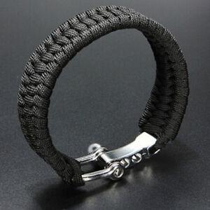 Pulsera-de-supervivencia-para-exterior-cable-negro-cuerda-grillete-acero-hebi-ws