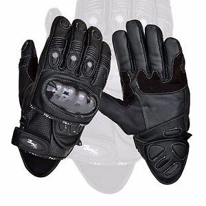 Negro-Corto-Cuero-Proteccion-De-Nudillos-Moto-Guantes