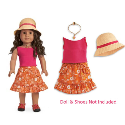"American Girl JLY GARDENING OUTFIT for 18"" Dolls Retired Clothes Skirt Hat NEW"
