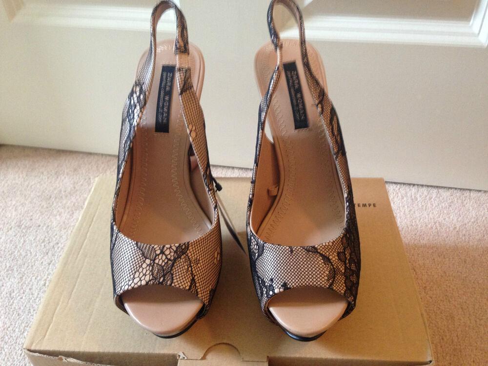 *bnib* Sold Out Zara Black Beige Nude Lace Slingback Peep Toe Shoes Uk 37 4