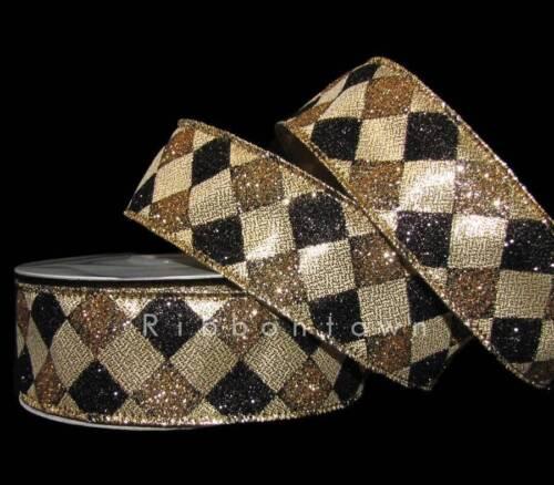 10 Yards Gold Black Glitter Diamond Jester Harlequin Christmas Wired Ribbon 1 1//
