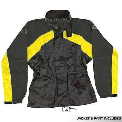 JOE ROCKET RS2 RAIN SUIT MENS BLACK ORANGE JACKET PANTS 2 PIECE MOTORCYCLE  GEAR