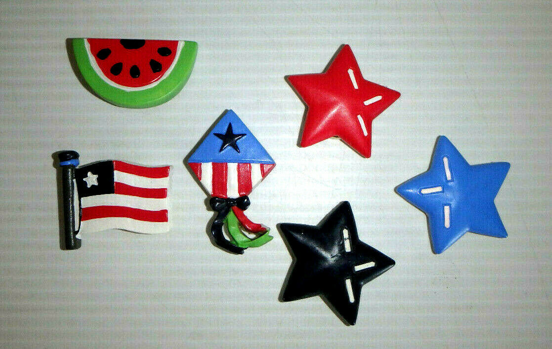 Set of 6 BUTTON COVERS - Patriotic SUMMER July 4th / EUC