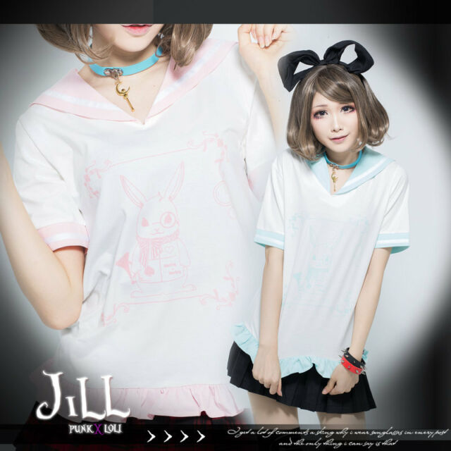 lolita fairytale cartoon Alice white rabbit herald sailor collar tshirt JHU0008