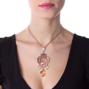 6752d458fdd98f Caricamento dell'immagine in corso Collana-in-argento-placcato-oro-rosa-e -cristalli-