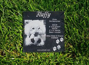 "6"" X 6"" Personalized Laser Engraved Black Granite Photo Pet Memorial Stone"