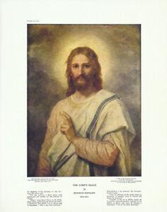 HEINRICH-HOFMANN-Vtg-c1944-Print-of-Jesus-THE-LORD-039-S-IMAGE-AKA-CHRIST-039-S-IMAGE