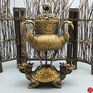 China-Brass-Carving-Decoration-Longevity-Crane-Dragon-Turtle-Incense-burner