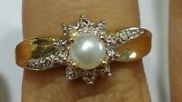 14k Yellow Gold Genuine Birthstone Ring June Cultured Pearl Vintage Antique