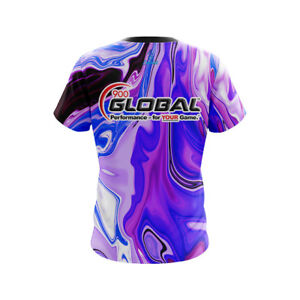 CoolWick 900 Global Mens Energy Swirls Black Bowling Jersey
