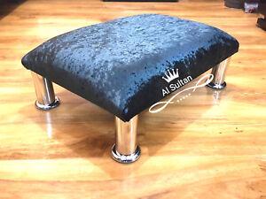 Foot-Rest-Pouffe-Stool-Tube-Legs-British-Made-Crushed-Glitz-Velvet-black-silver