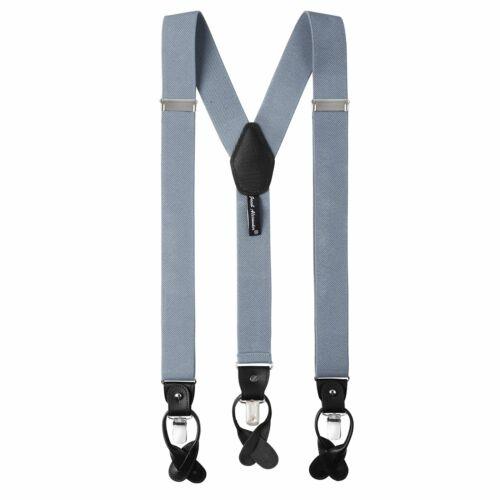 Jacob Alexander Men/'s Solid Elastic Suspenders Braces Convertible Leather Clips