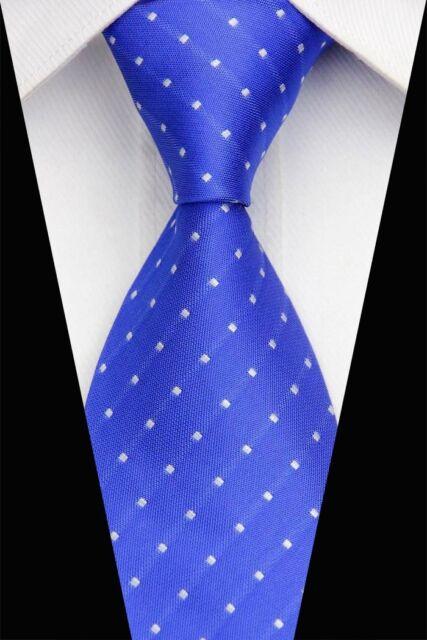 PT0494 Blue White Check Classic Silk Jacquard Woven Mans Casual Tie Necktie