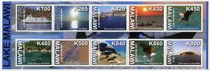 MALAWI-2014-Gomma-integra-non-linguellato-lago-Malawi-10v-M-S-TURISMO-paesaggi-Navi-Eagles-birds