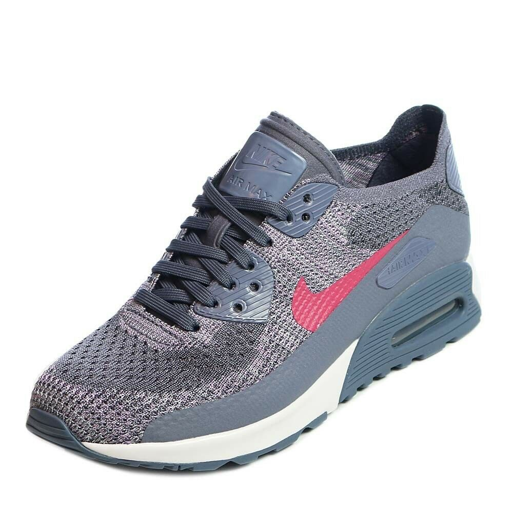 Nike Air Max 90 Ultra 2.0 Flyknit Anthracite Dark Grey Red White Womens 7 Sample