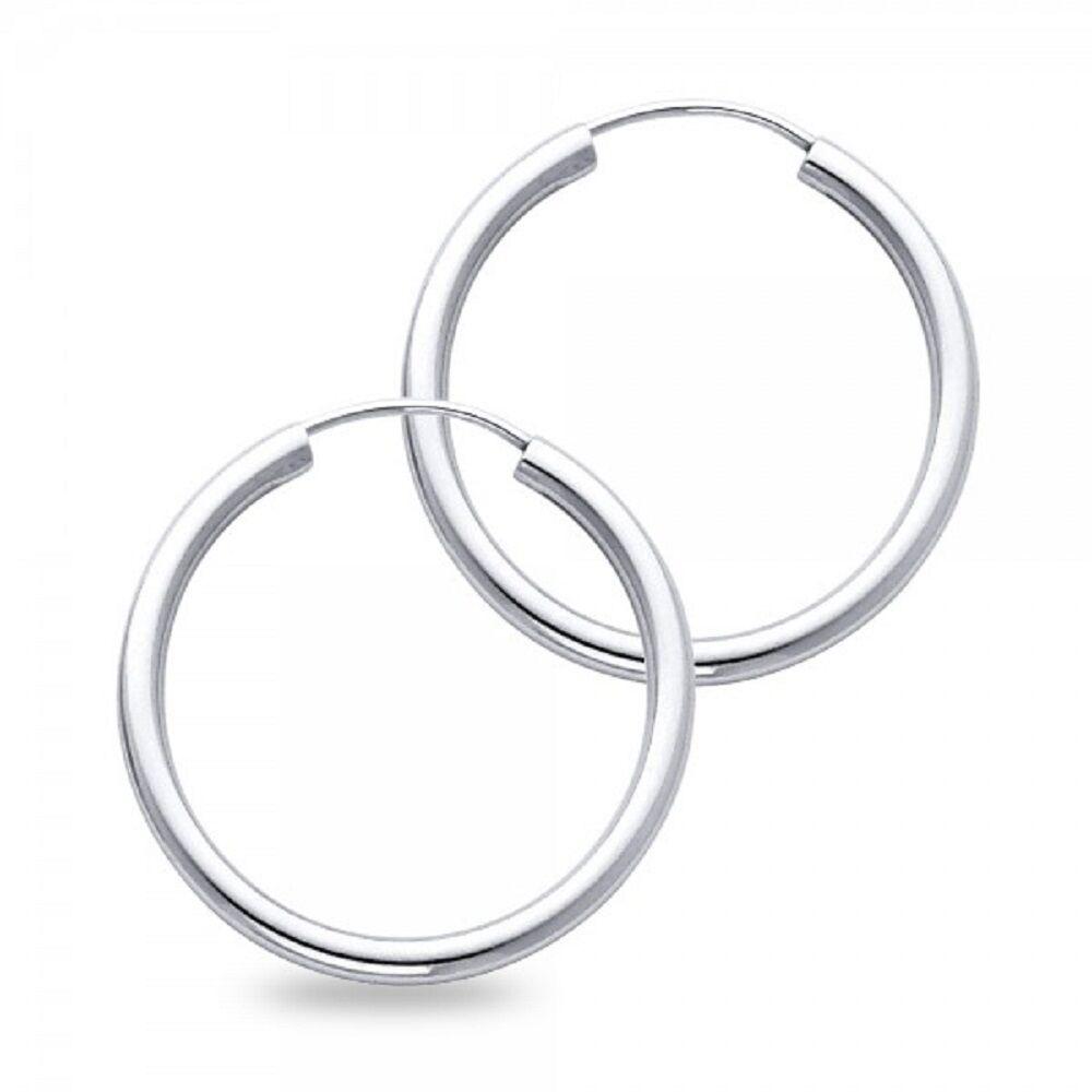 Solid 14k White gold Plain Hoops Plain Endless Earrings Classic Polished Finish