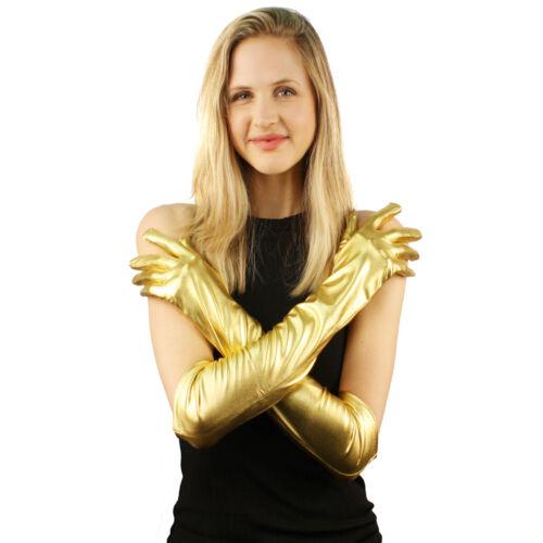 Shiny Glossy Metallic Stretchy Above Elbow Length Dressy Formal Gloves