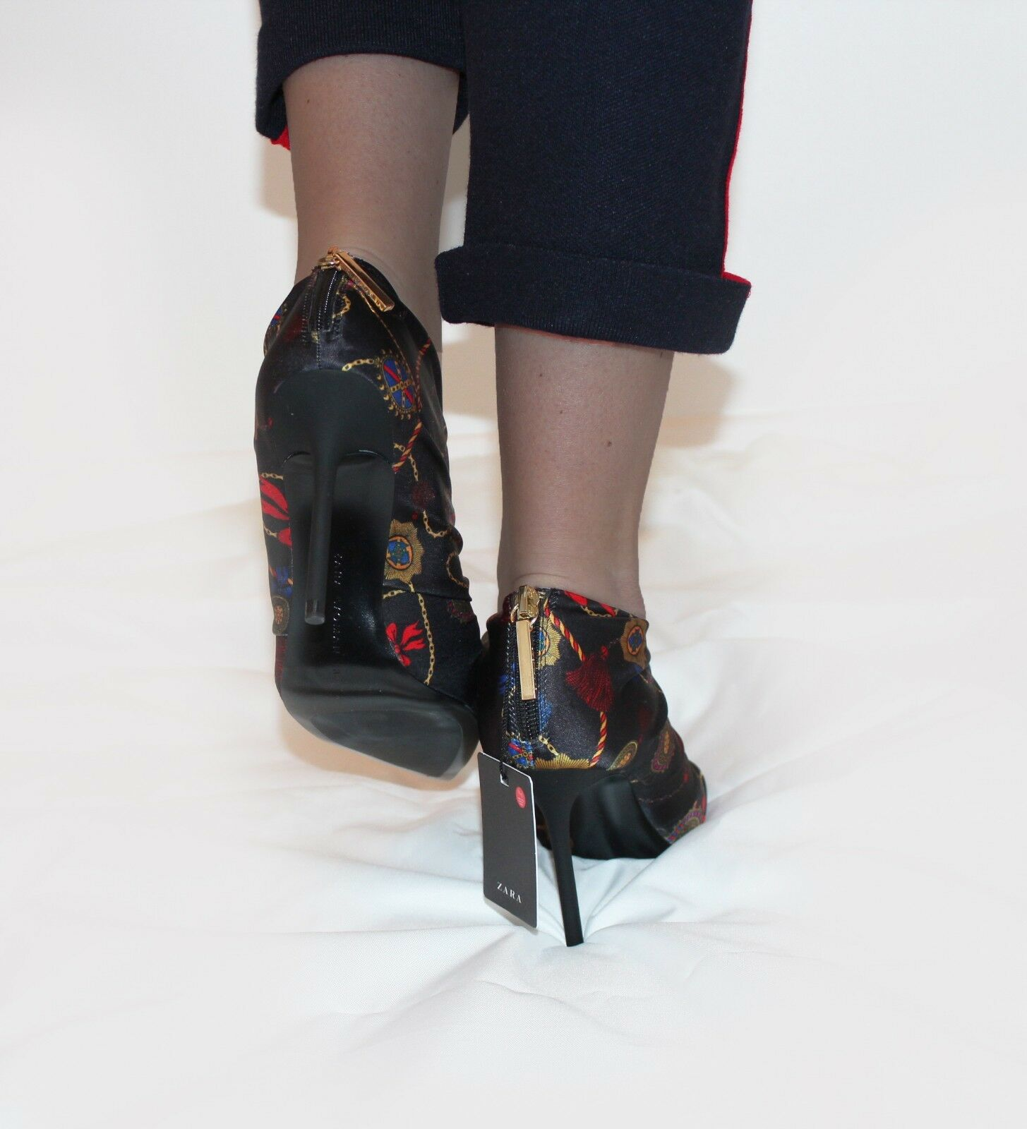 ZARA Printed Hight Hight Hight Heel Ankle Boots With Gathering UK 3  EU 36 Casual Formal 9fd6c9