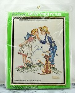 Vintage Norman Rockwell Beguiling Buttercup Stamped Cross Stitch Kit Paragon NEW