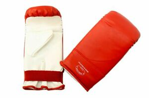 Red and White Heavy Duty Boxing Training Sparring Practice Gloves 1Pair - S-XL