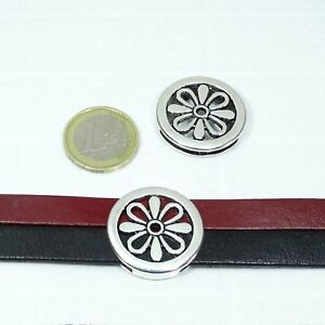 5 Hebillas Para Cordón 28mm T215 Plata Tibetano Leather Bracelet Perline Beads
