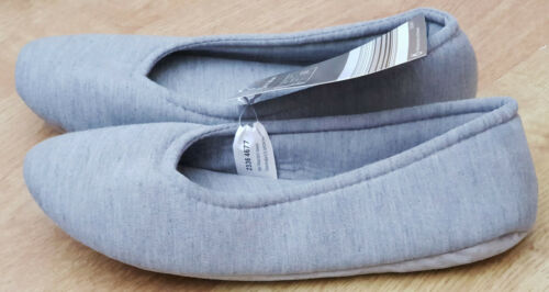 Womens Ballerina Ballet Style Slip On Slippers Girls Pink Grey Blue Size 4-8