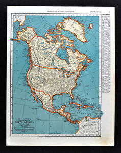 Details about 1938 McNally Map North America United States Canada Mexico  Alaska Caribbean