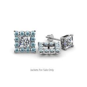 1.50Ct Princess Cut Aquamarine 14K White Gold Finish Halo Diamond Stud Earrings