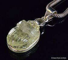 Libyan Desert Glass Meteorite Impactite Scarab carving 925 silver pendant 36mm L