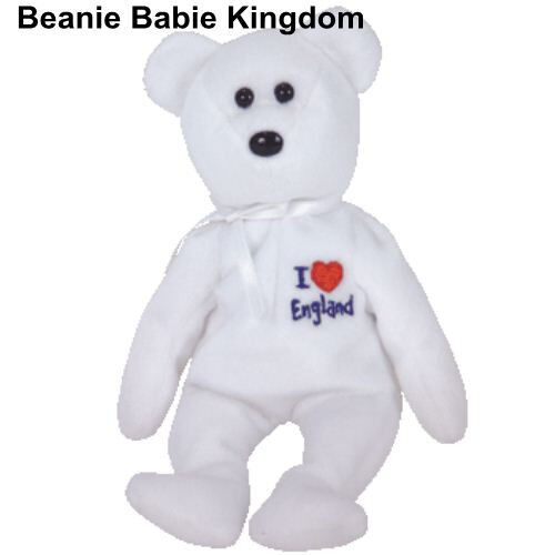 TY BEANIE BABIE * I LOVE ENGLAND * THE WHITE TEDDY BEAR - UK EXCLUSIVE 7