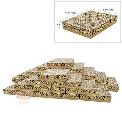 """25 Cotton Filled Jewelry Gift Boxes 6 1/8"""" x 5 1/8"""" x 1 1/8""""H (155 x 129 x 27mm)"""