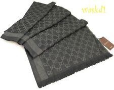 "GUCCI wool/silk 28x77"" Coal & Gray 2-tone Monogram Scarf Pashmina NWT Authentic!"