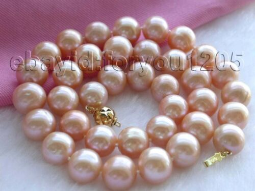 """17.5/"""" Genuine Natural 12mm Pink Round Pearl Necklace 18KGP f991!"""