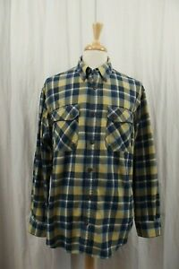 Duluth-Trading-Co-Flannel-Mens-Shirt-Large-Button-Down-Blue-Plaid-Long-Sleeve