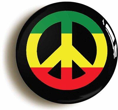 RASTA PEACE BADGE BUTTON PIN (1inch/25mm) REGGAE JAMAICA RASTAFARIAN CND