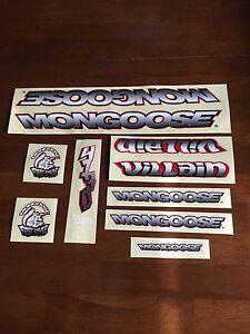 Nos-Old-School-Mongoose-Bmx-Villain-Decal-Set-Sticker-Kit-Complete-New-Vintage