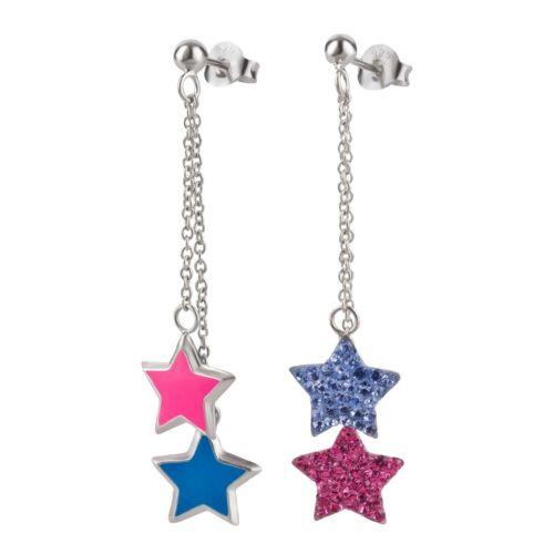 Ohrringe Blume Sterne Bunt 925 Silber Ohrstecker Mädchen Damen Kinderohrringe