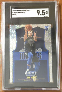 2018-19-Panini-Threads-181-Luka-Doncic-Dazzle-RC-Mavs-SGC-9-5-Comp-to-BGS-PSA