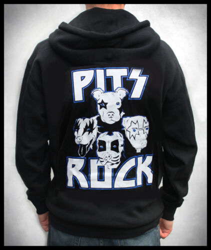 """Men/'s// Unisex /""""Pits Rock/"""" Kiss a Pit Bull Zip Front Hoodie Motley Zoo Rescue"""