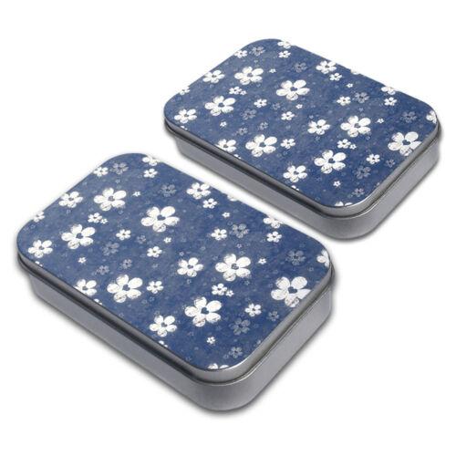 Denim Flowers Decorative Craft Trinket Metal Tin Box Set of 2
