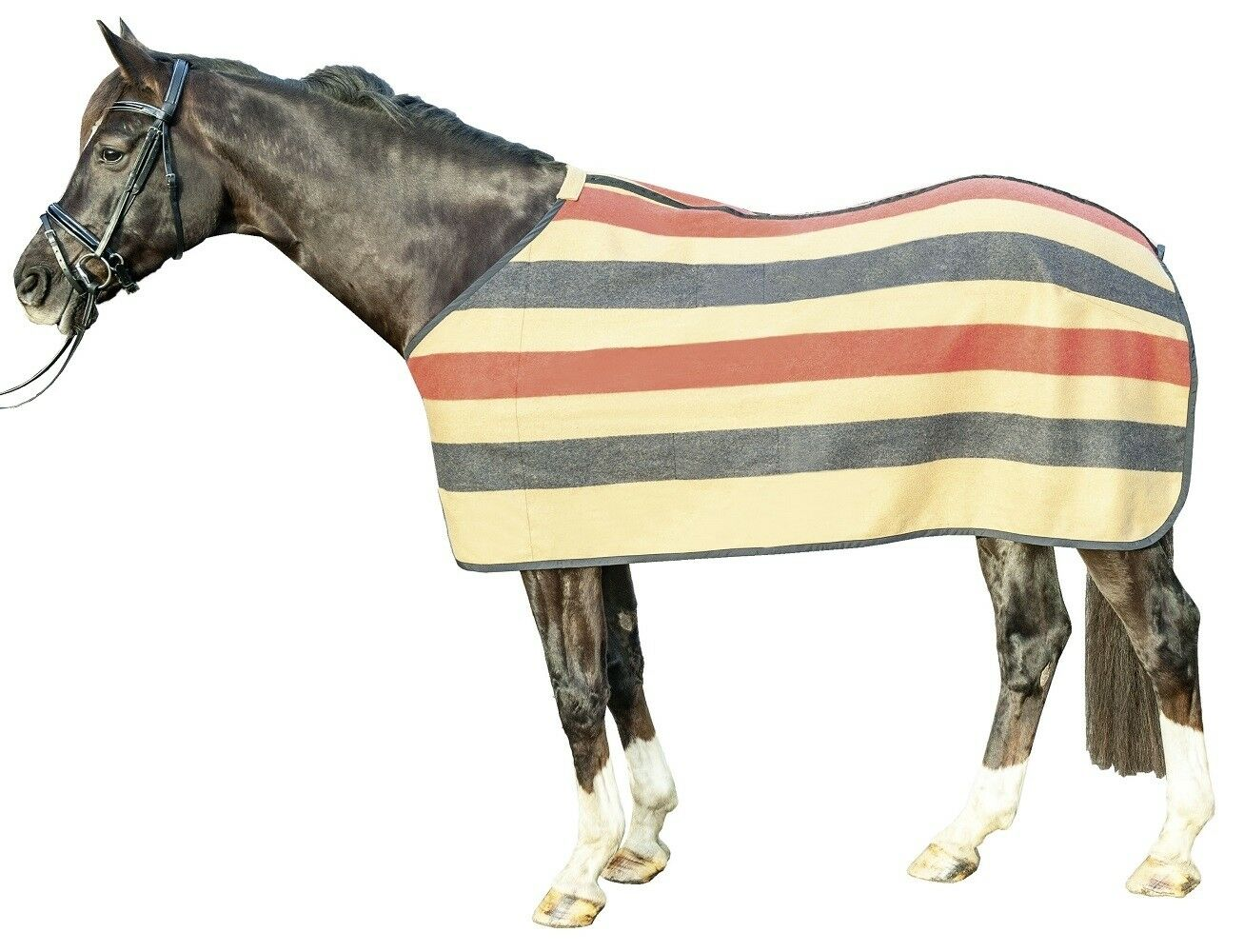 HKM Horse Pony Fleece Rug Wool Stripes highly insulated fast moisture absorption