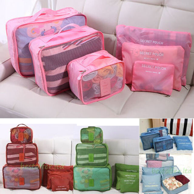 Set of 6 Suitcase Organiser Luggage Packing Travel Cubes Bag Packers Tidy Case