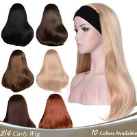 Onedor Mix Long 3/4 Women's Wigs Hairpiece Straight With Adjust Black Headband