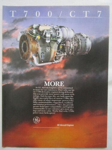 1//1988 PUB GENERAL ELECTRIC AIRCRAFT ENGINES T700 CT7 ORIGINAL AD