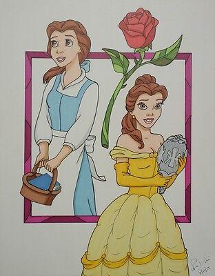 Beauty and the Beast drawing Belle Disney Princess fanart art rose