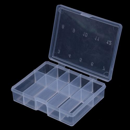 10 Grid transparenten Angelhaken Box Fischköder Angelzubehör Werkzeugkof li